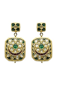 Gold Hoop Earrings With Ruby, Emeralds & Polkis by Tyaani