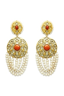 Gold Hoop Earrings With Polki Diamonds & Coral Stones by Tyaani