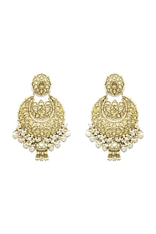 Gold Chandbali Earrings With Pearls & Polkis by Tyaani