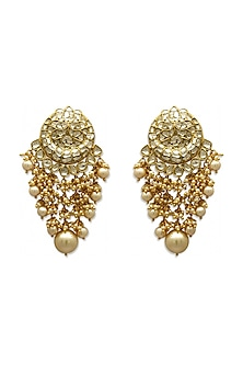 Gold Chandbali Earrings With South Sea Pearls & Polkis by Tyaani