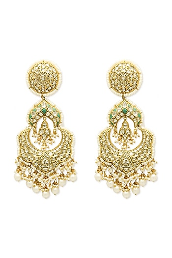 Gold Chandbali Earrings With Freshwater Pearls & Polkis by Tyaani