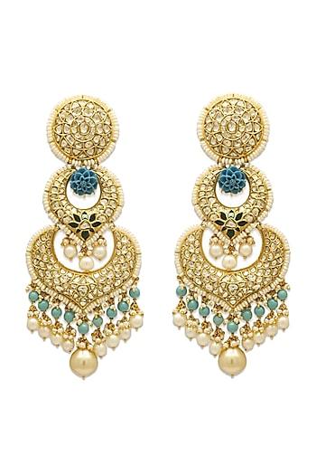 Gold Chandbali Earrings With Emerald Beads & Polkis by Tyaani
