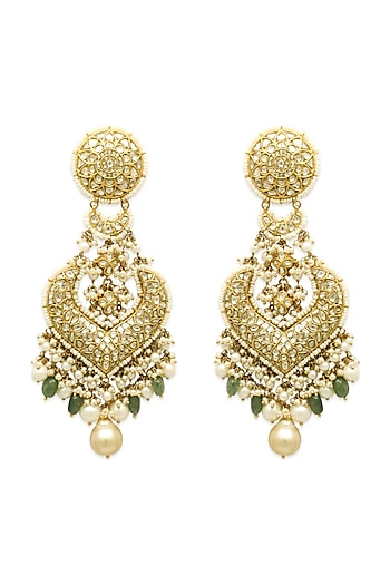 Gold Chandbali Earrings With Pearls, Emeralds & Polkis by Tyaani