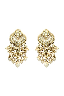 Gold Chandbali Earrings With Freshwater Pearls by Tyaani