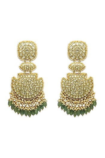 Gold Chandbali Earrings With Polkis, Emeralds & Pearls by Tyaani