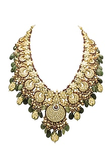 Gold Long Necklace With Emeralds, Rubies & Polkis by Tyaani
