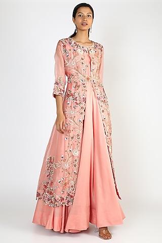 Pink Cape Set With Belt by USHA BAGRI