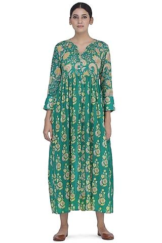 Rama Green Printed Shirt Dress by Uri by Mrunalini Rao