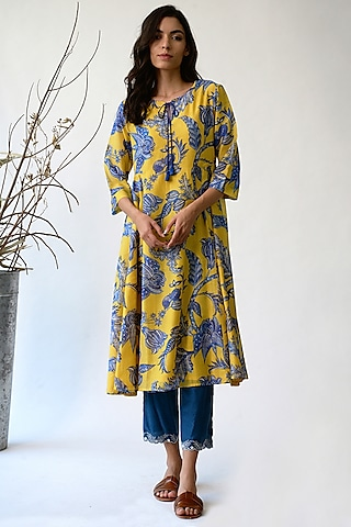 Ochre & Blue Printed Dress by Umbar By Payal Pratap