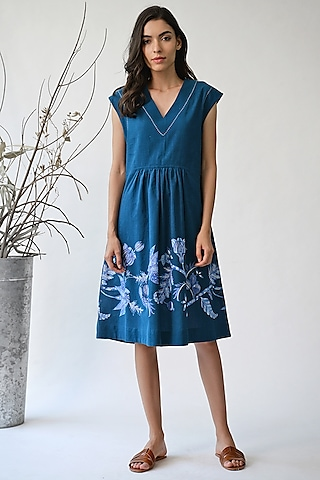 Cobalt Blue Printed Dress by Umbar By Payal Pratap