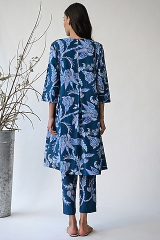 Cobalt Blue Printed Jacket Dress by Umbar By Payal Pratap