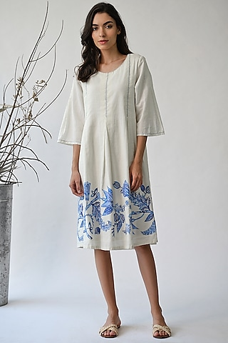 White Printed Cotton Dress by Umbar By Payal Pratap