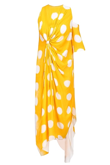 Yellow Tye and Dye Polka Print Front Knoted Dress by Urvashi Joneja