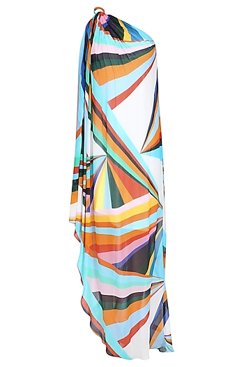 White Ray Print One Shoulder Knotted High Low Dress by Urvashi Joneja