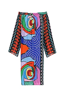 Multicolor Printed Off Shoulder Dress by Urvashi Joneja