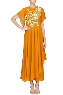 Orange Floral Embroidered Asymmetrical Drape Tunic with Palazzo Pants by Urvashi Joneja