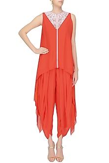 Reddish Orange and Ivory Cutwork Tunic with Dhoti Pants by Urvashi Joneja