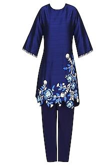 Navy Blue Floral Embroidered Short Kurta with Dhoti Pants by Urvashi Joneja