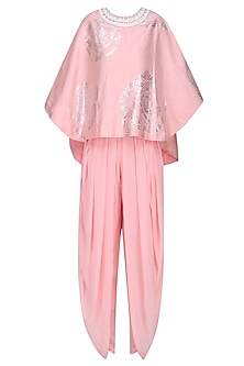 Light Pink and Foil Work Cape Top with Dhoti Pants by Urvashi Joneja