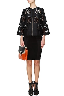 Black thread and beads embroidered floral cutwork jacket by Urvashi Joneja