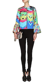 Multicoloured abstract print polaris jacket by Urvashi Joneja