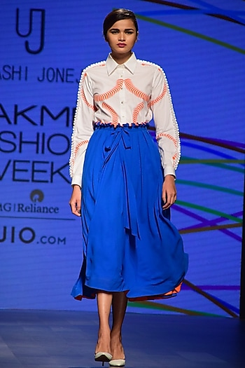 Blue and Orange Pleated Skirt by Urvashi Joneja