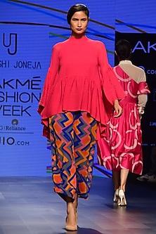 Pink Pin Tucked Flared Top by Urvashi Joneja