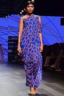 Blue Spring Full Drape Dress by Urvashi Joneja