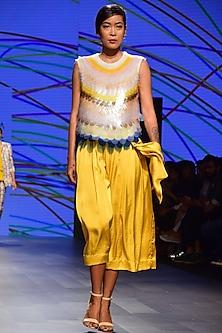 Yellow Satin Gather Bow Skirt by Urvashi Joneja