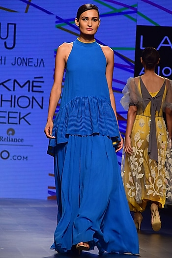 Blue Pleated Gown by Urvashi Joneja