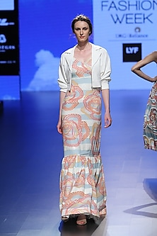 White And Blue Stripe Sequins Gown by Urvashi Joneja