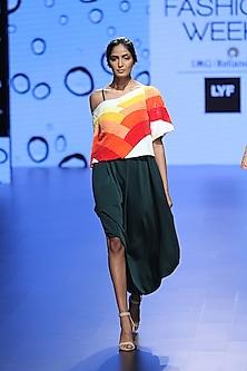 Green Side Cowl Strappy Dress by Urvashi Joneja