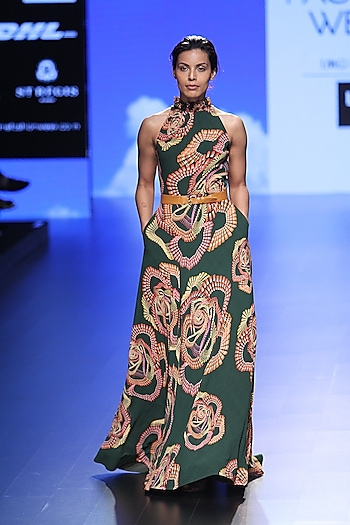 Green Droplet Digital Print Gown by 2524