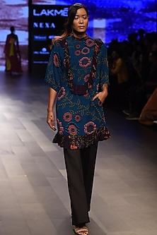 Teal Printed Contrast Frill Dress by Urvashi Joneja