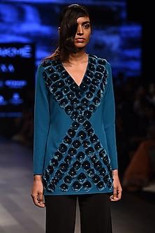 Teal Velvet Lace Diamond Embroidered Short Dress by Urvashi Joneja