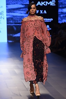 Light Pink Off Shoulder Printed Top by Urvashi Joneja