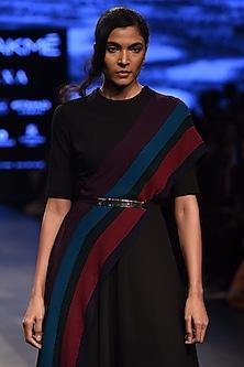 Black Striped Panel Dress by Urvashi Joneja