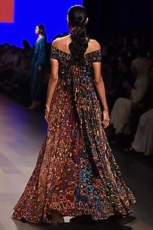 Black and Wine Off Shoulder Squiggle Printed Dress by Urvashi Joneja