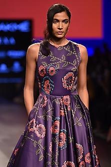Purple Flower Print Flared Gown by Urvashi Joneja