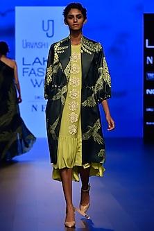 Neon Green Floral Lace Applique Frill Dress by Urvashi Joneja