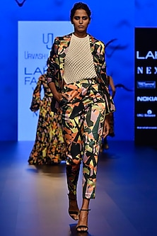 Multi Colored Camoflauge Printed Suit Jacket by Urvashi Joneja