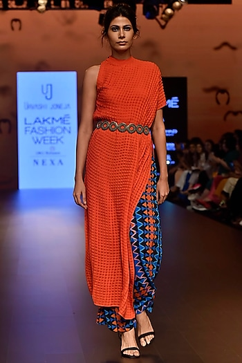 Dark Orange One Shoulder Checkered Asymmetrical Tunic by Urvashi Joneja