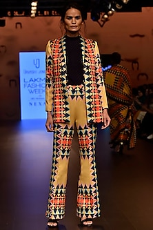 Multi Colored Geo Border Printed Suit Jacket by Urvashi Joneja