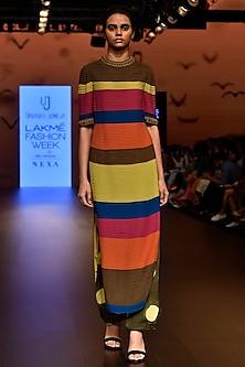 Multi Color Embroidered Pleated Tunic by Urvashi Joneja