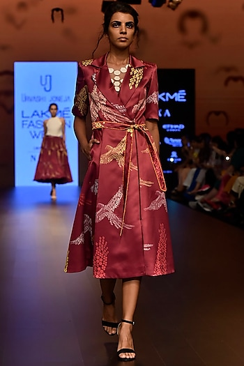 Magenta Pink Printed Trench Dress by Urvashi Joneja