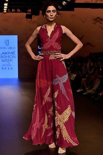 Magenta Sleeveless Printed Jumpsuit with Embroidered Belt by Urvashi Joneja