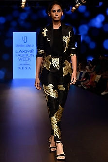 Black Foil Printed Pencil Pants by Urvashi Joneja