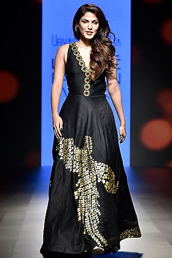 Black Embroidered and Foil Printed Gown by Urvashi Joneja