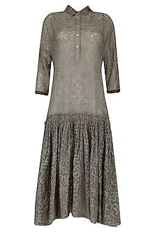 Olive Chikankari Embroidered Drop Waist Dress by Urvashi Kaur