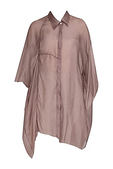 Onion Pink Oversized Button Down Shirt by Urvashi Kaur